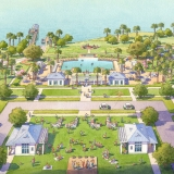 Watercolor Architectural Rendering of Oakland Park from an Aerial View for Castle & Cooke