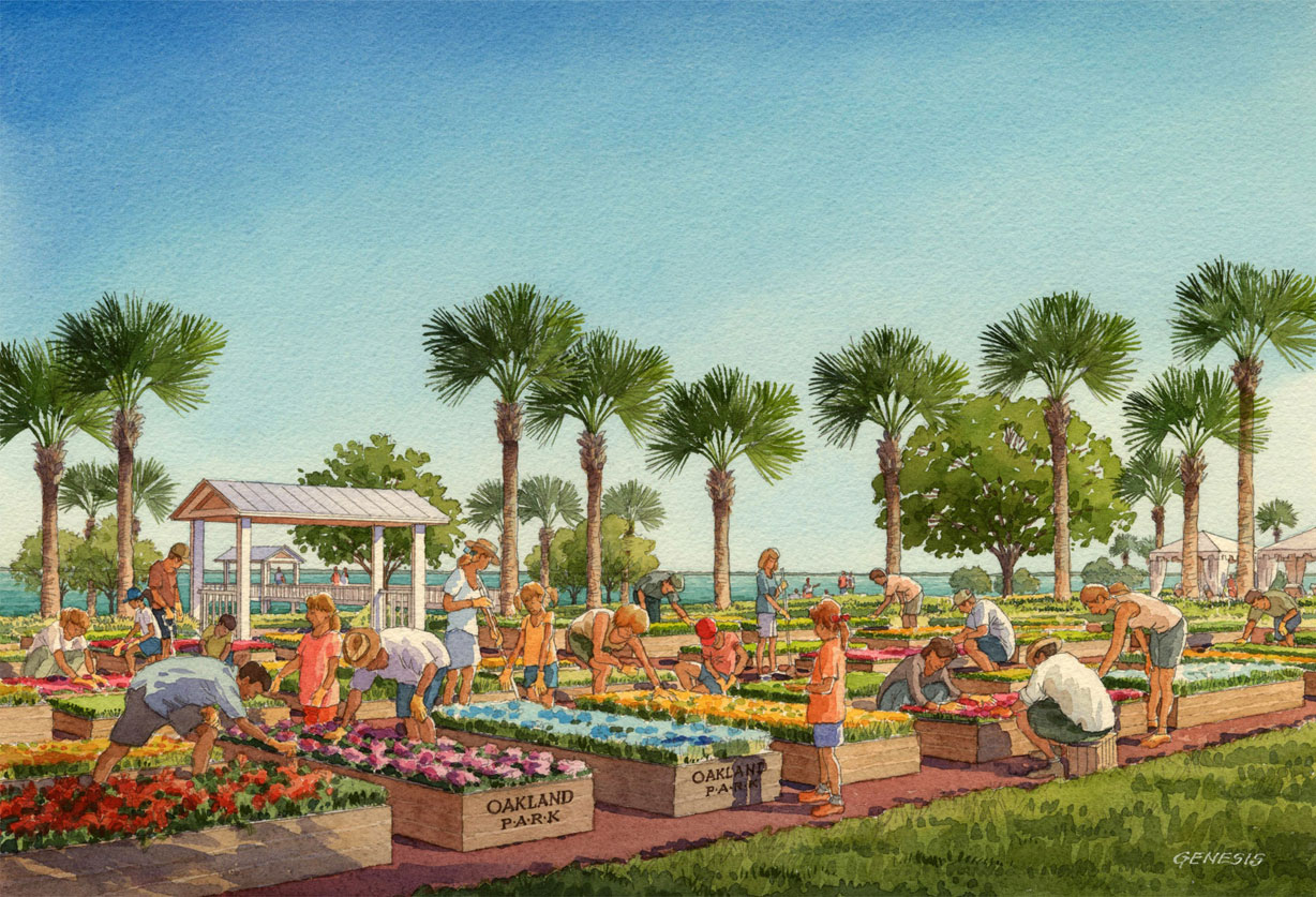Watercolor Architectural Rendering of Oakland Park Community Garden for Castle & Cooke