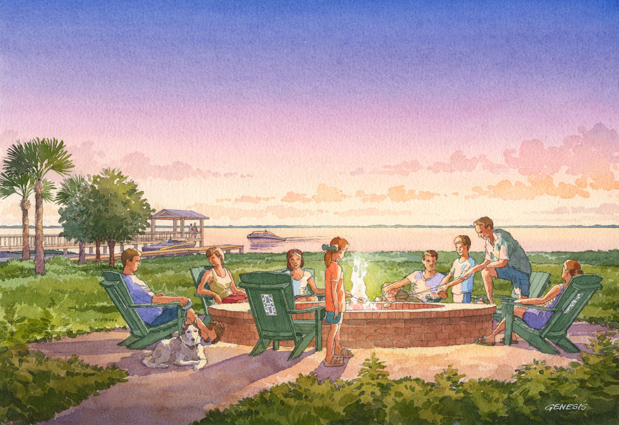 Watercolor Architectural Rendering of Oakland Park Fire Pit for Castle & Cooke
