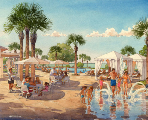 Watercolor Architectural Rendering of Oakland Park Kids Pool for Castle & Cooke