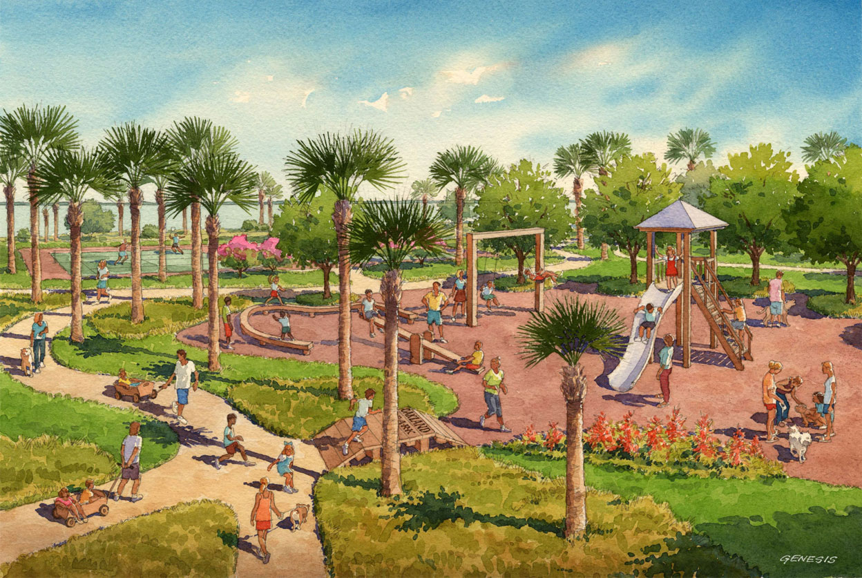 Watercolor Architectural Rendering of Oakland Park Playground for Castle & Cooke