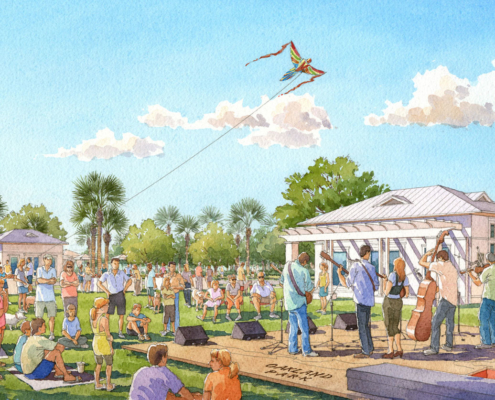 Watercolor Architectural Rendering of Oakland Park Stage for Castle & Cooke