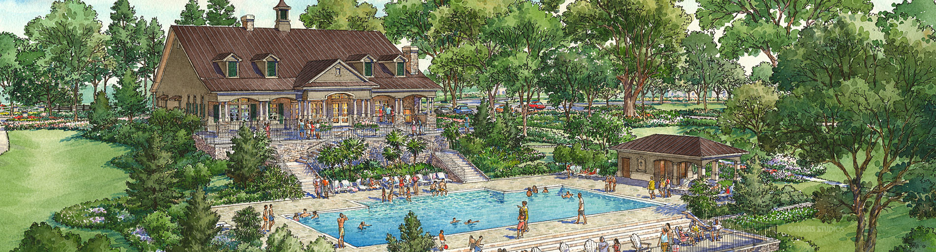 Pen and Ink with Watercolor Architectural Renderings of Sullivan Ranch Community Center Pool for Centex