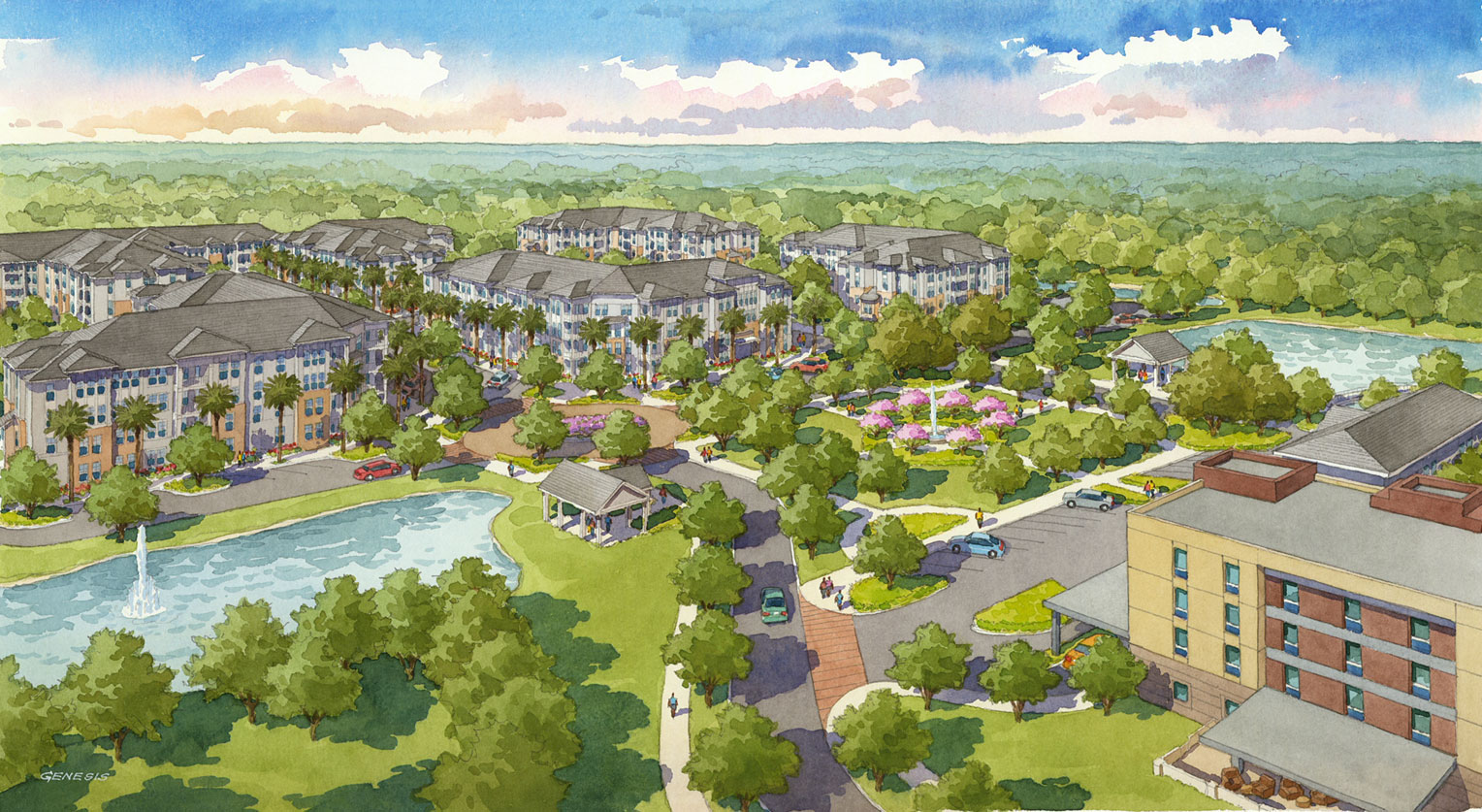 Watercolor Architectural Rendering of Mount Pleasant from an Aerial View for Charlan Brock Associates