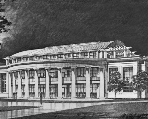Pen & Ink Architectural Rendering of Christopher Newport University