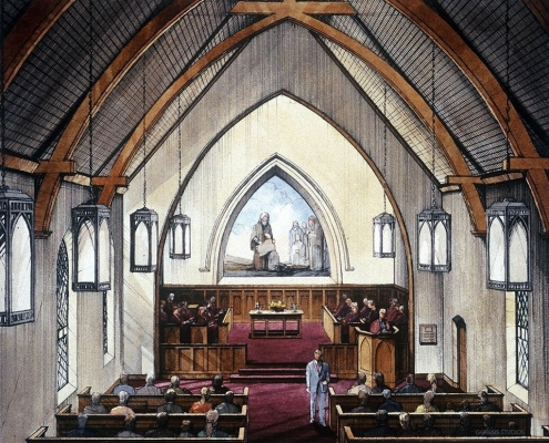 Pen & Ink with Watercolor Architectural Rendering of Church Sanctuary