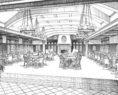 Pen & Ink Architectural Rendering of Clubhouse Grille Room