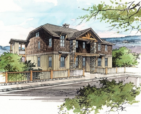 Pen & Ink with Watercolor Architectural Rendering of Condominium