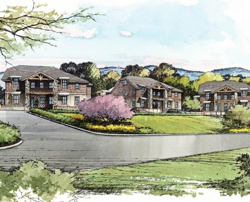 Pen & Ink with Watercolor Architectural Rendering of Condominiums