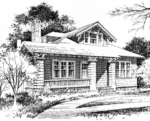Pen & Ink Architectural Rendering of Cottage