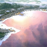 Watercolor Architectural Rendering of Borabay Lakes Resort from an Aerial View for Eric Kuhne Architects