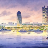 Watercolor Architectural Rendering of Watson Island Gardens for EKA Eric Kuhne Associates