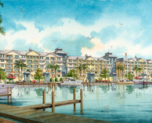 Watercolor Architectural Rendering of Mariners Club for Earthmark