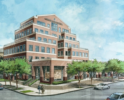 Pen & Ink with Watercolor Architectural Rendering of Ferrer Law Center