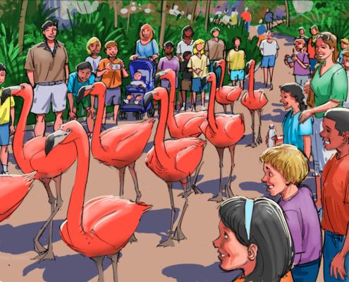 Digital Watercolor Architectural Rendering of Flamingo Walk