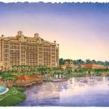 Watercolor Architectural Rendering of the Four Seasons Hotel Exterior at Dusk