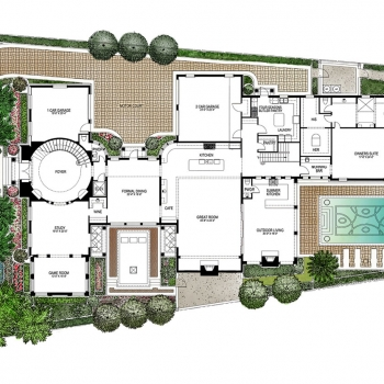 Watercolor Site Plan of Four Seasons Private Residences