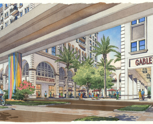 Watercolor Architectural Rendering of Gables Station Exterior for Gensler