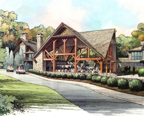 Pen & Ink with Watercolor Architectural Rendering of Golf Club Pavilion