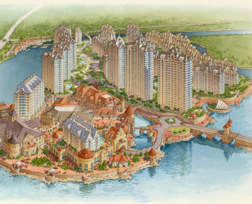 Watercolor Architectural Rendering of Anshan China from an Aerial View for HHCP