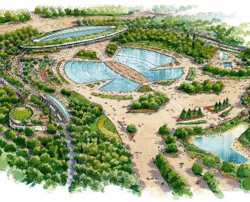 Pen & Ink with Watercolor Architectural Rendering of SGP Zoo for Heerim Architects