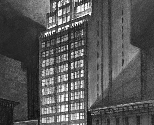 Pen & Ink Architectural Rendering of High Rise Office Building