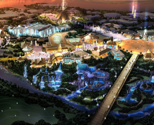 Digital Watercolor Architectural Rendering of Theme Park from an Aerial View for ITEC