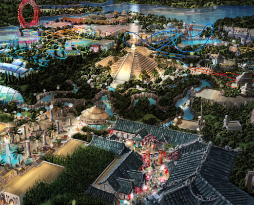 Digital Watercolor Architectural Renderings of Theme Park Pyramid for ITEC