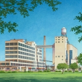 Watercolor Architectural Rendering of the Emergency Service Center for Kanakee Community College