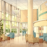 Watercolor Architecutral Rendering of Sarasota Memoria Hospital Lobby for Kay Trimmer Designs