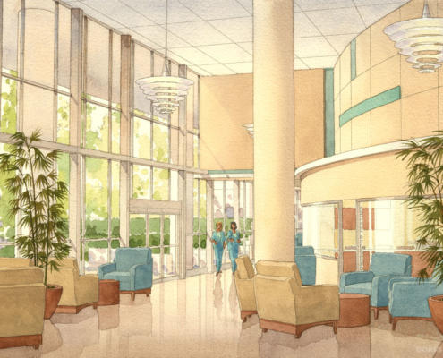 Watercolor Architecutral Rendering of Sarasota Memoria Hospital Lobby for Kay Trimmer Designs