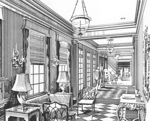 Pen & Ink Architectural Rendering of Lobby