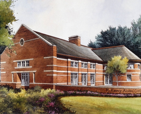 Pen & Ink with Watercolor Architectural Rendering of McKinney Alumni Center