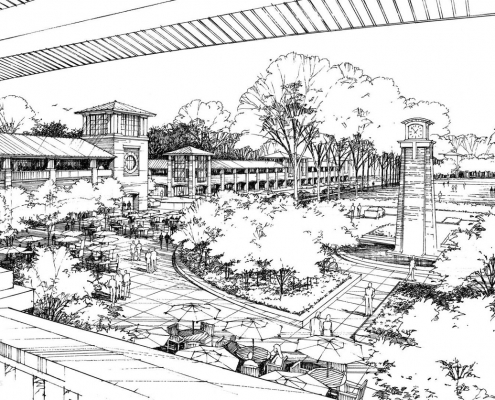 Pen & Ink Architectural Rendering of Public Square