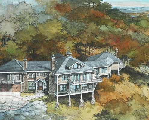 Pen & Ink with Watercolor Architectural Rendering of Residence from an Aerial View