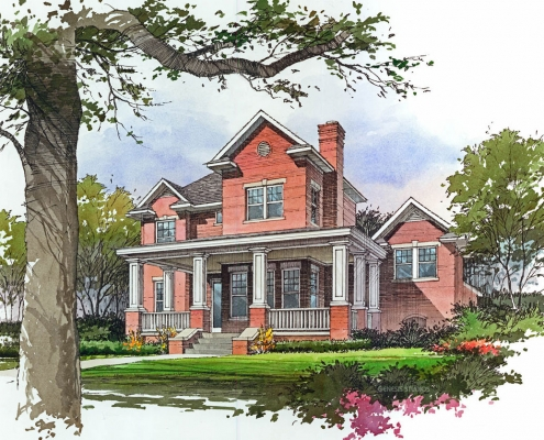 Pen & Ink with Watercolor Architectural Rendering of Residence