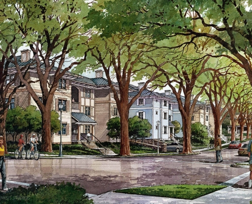 Pen & Ink with Watercolor Architectural Rendering of Residential Multi Family Housing Street Corner