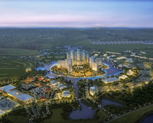 Digital Photorealistic Architectural Rendering of Seminole Hard Rock Casino from an Aerial View