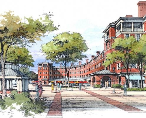 Pen & Ink with Watercolor Architectural Rendering of Shopping Plaza