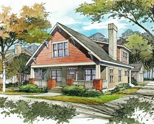 Pen & Ink with Watercolor Architectural Rendering of Single Family Home