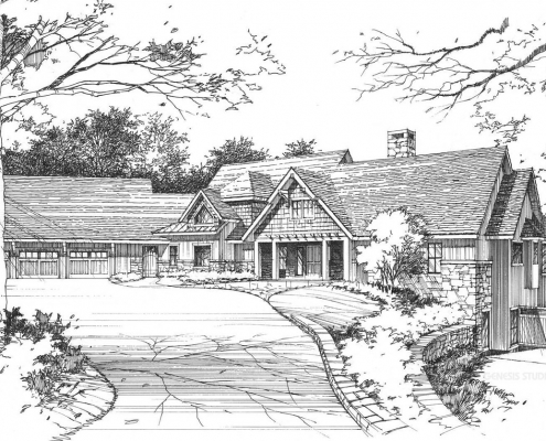 Pen & Ink Architectural Rendering of Single Family Residence