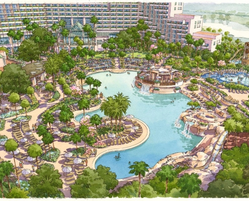 Pen & Ink with Watercolor Architectural Rendering of Orlando World Center Marriott from an Aerial View for TVSA