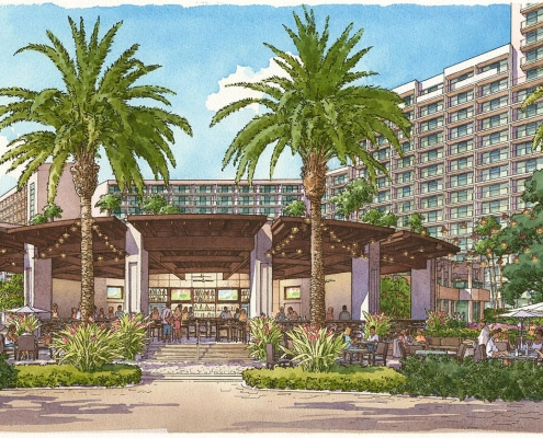 Pen & Ink with Watercolor Architectural Rendering of Orlando World Center Marriott Outdoor Bar for TVSA