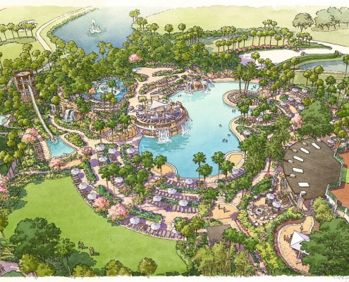 Pen & Ink with Watercolor Architectural Rendering of Orlando World Center Marriott Pool for TVSA