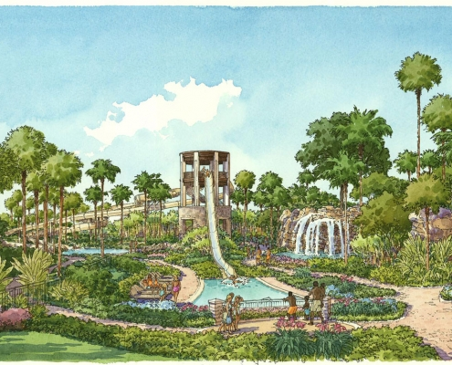Pen & Ink with Watercolor Architectural Rendering of Orlando World Center Marriottfor TVSA