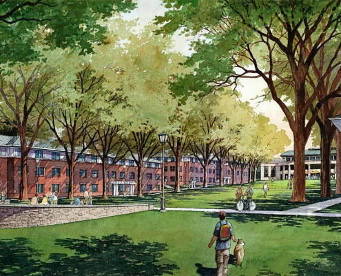 Pen & Ink with Watercolor Architectural Rendering of University of Virginia Campus