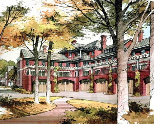 Pen & Ink with Watercolor Architectural Rendering of University of Virginia Housing