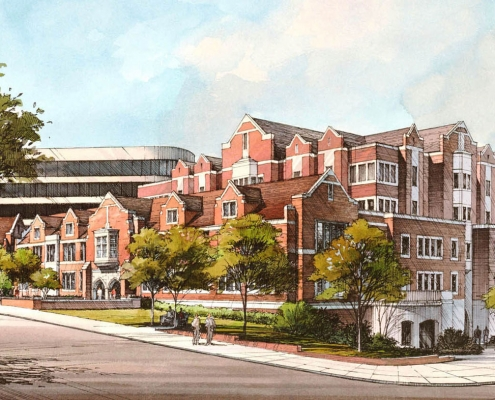 Pen & Ink with Watercolor Architectural Rendering of University of Virginia from a Street View