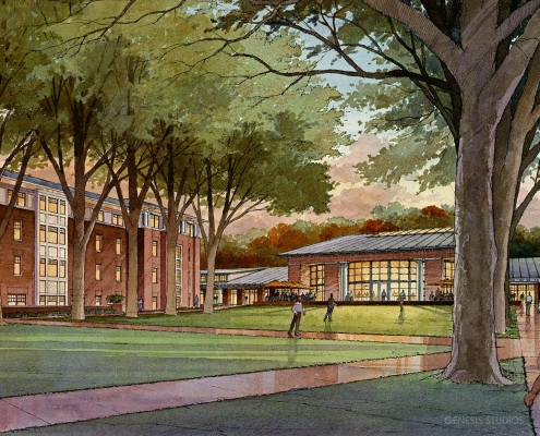 Pen & Ink with Watercolor Architectural Rendering of Student Center at University of Virginia
