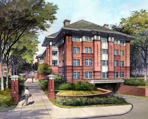 Pen & Ink with Watercolor Architectural Rendering of Wertland Square at University of Virginia